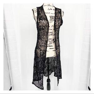 Rue 21 Sleeveless Crochet Lace Duster Wrap Black M